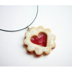 Linecké cukroví - náhrdelník srdíčko