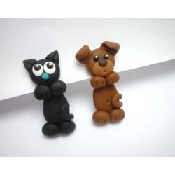 Falešný roztahovák - Pejsek a kočička (ocel)