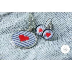 """Set """"srdce námořníka"""", ocel náušnice"""