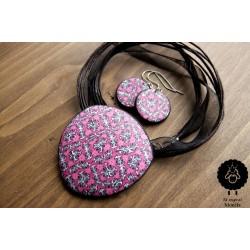 Mozaikový set růžovo-černý – ocel
