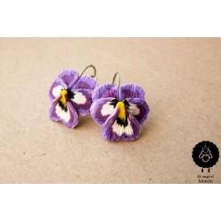 Květinkové náušnice světlé Macešky