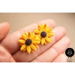 Náušnice květiny Slunečnice ocel pecky