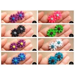 Náušnice barevné květiny pecky 8 variant