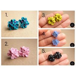 Náušnice květiny pecky Barevné simple