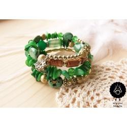 Náramek korálkový zelený