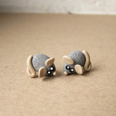 Myška a sýr ocelové náušnice