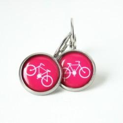 Ocelové náušnice Cyklostezka růžové
