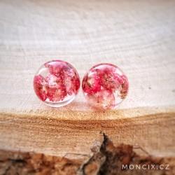 Růžové květinky ocelové náušnice 12mm