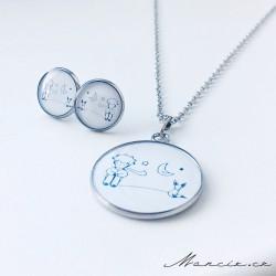 Ocel set panáček s liškou náušnice + náhrdelník