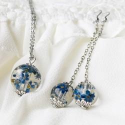 Pomněnky set náušnice + náhrdelník ocel