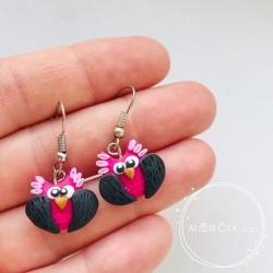Sovy růžovo-černé náušnice