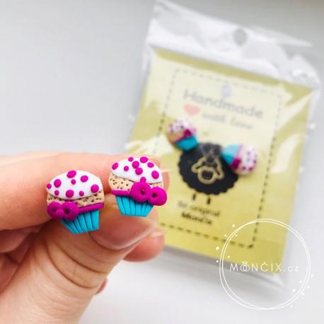Muffiny s mašlí - cupcake náušnice