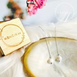 Pearl steel - náušnice říční perly